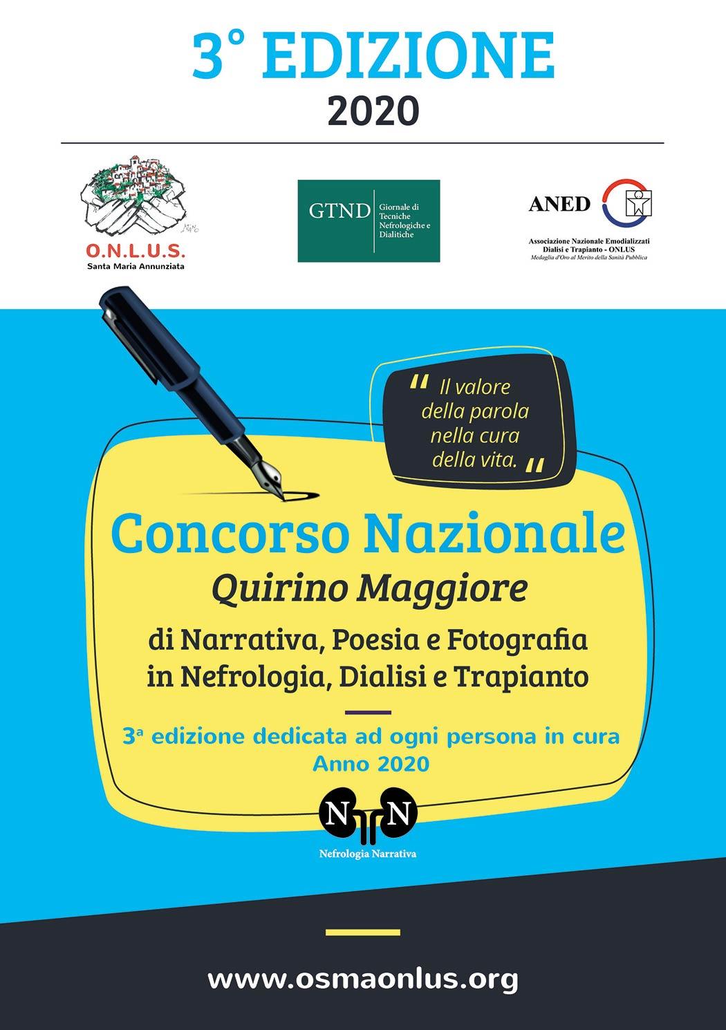 Al via l'edizione 2020 del Concorso letterario Quirino Maggiore di Narrativa, Poesia e Fotografia in Nefrologia, Dialisi e Trapianto 2020